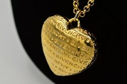 Givenchy Vintage Statement Necklace Gold Puffy Heart Logo Pendant Runway Bin7 $217.49