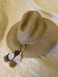 Sea Folly Shady Lady Collapsable Fedora Sun Beach Hat With Tassels $10.00