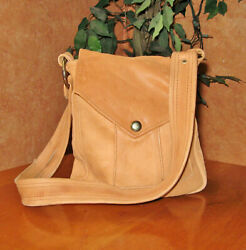 Vintage Leather Shoulderbag Handmade Tan Small Tychios Leather Portland OR USA $39.99