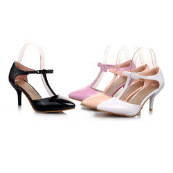 Ladies Party Shoes Synthetic Leather Stiletto Heels T Strap Sandals US Size S905 $39.98
