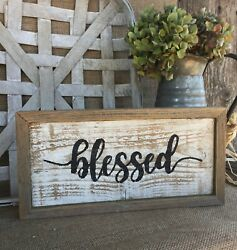 BLESSED Sign Farmhouse Country Decor Rustic Wood Inspirational Wall Art HP USA $19.99