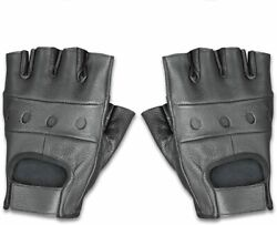 Raider BCS 500 Leather Fingerless Men#x27;s Motorcycle Driving Gloves BlackX Small $10.99