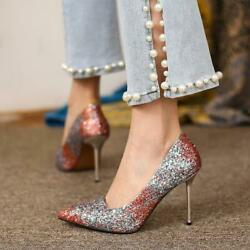 Women#x27;s Pointy Toe Sequins Glitter Slip On Stilettos High Party Shoes Size Fgg02 $71.19