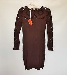NWT Poof Chocolate Long Sleeve Cocktail Women#x27;s Mini Sheath Dress Size M L $14.00