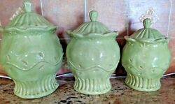 Ceramic Kitchen Canisters Set of 3 Decorative Light Green $29.99