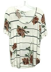 Maurices Womens Size XLarge 24 7 Tee Floral Striped Shirt Popover Tunic Tee $16.99
