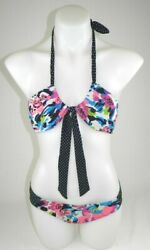 Aeropostale Bikini Women#x27;s Sz Medium Black Floral 2 PCS Bandeau Swim Suit EUC $13.60