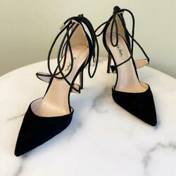 Women Suede Leather Pumps Black Pointy Toe Sexy Heels Party Shoes Criss Cross $72.67