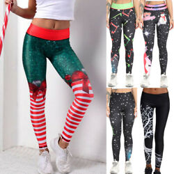 US Christmas Leggings Women Sports Fitness Workout Running Yoga Gym Pants Casual $18.49