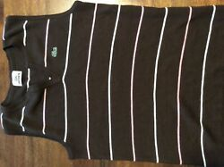 Lacoste Womens Size 40 Brown W Pink And White Stripes Sleeveless $12.00
