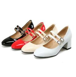 New Women Chunky Heels Pumps Rivets Buckle Strap Casual Party Shoes Plus Size $49.99