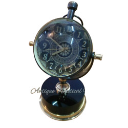 Antique Brass Desk Clock Mechanical Vintage Table Top Decorative $37.00