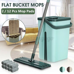 Self Cleaning Drying Wringing Mop Bucket System Flat Floor with 2 Microfiber Pad $27.49