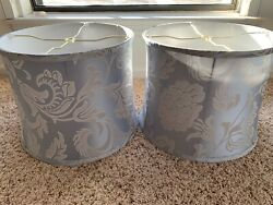 Pair Of Huge Lamp Shades 10 x 12 SILK Silver Blue Rarely Used Excellent $60.00