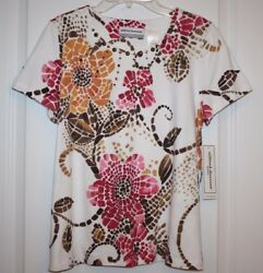 NWT Alfred Dunner Women#x27;s Ladies Indian Summer Top with Beaded Accents PS $22.50