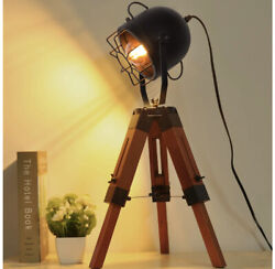 Decoluce Industrial Tripod Floor Table Lamp Vintage Wood Cinema Searchlight S... $79.00