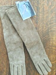 Long Leather Gloves by Adrienne Landau Light Brown X Small Petite NWT $39.99