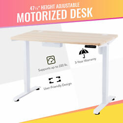 47quot; Adjustable Height Computer Desk for Sitting and Standing 220lb Cap White $266.99
