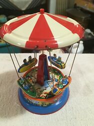 Vintage Tin Litho Sky Flying Rocket Ride Carousel Carnival Western Germany $74.99