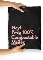 """12x15.5"""" Pink Black Biodegradable Shipping Bags50 Compostable Poly Mailers Eco $23.70"""