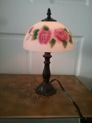 SMALL BEDROOM LAMP SATIN GLASS SHADE WITH PINK ROSES AND IRON BASE 14quot; TALL $54.99