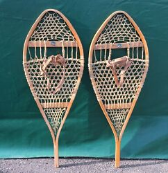 GREAT SNOWSHOES 43x16 WIDE Snow Shoes LEATHER BINDINGS L@@K $94.49
