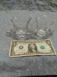 Vintage Mid Century Glass Creamer and Sugar Bowl Set with tray. $16.95