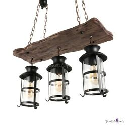 Industrial Wood Wrought Iron 3 Lights Pendant Light Chandelier Hanging Lamp Cage $123.99