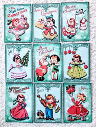 9 Cards Vintage Christmas Kids Handmade Greeting Card Tops only Crafts 249N $3.79