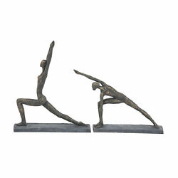 Zimlay Contemporary Set Of 2 Women In Yoga Poses Resin Statue 58368 $79.04