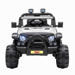 12V Kids Ride On Toy Electric Battery Powered Off Road Truck W LED Lights White $167.99