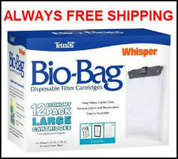 TETRA LARGE BIO BAGS FOR WHISPER POWER FILTERS. FITS 203040 amp; 60 FILTERS 12PK $16.35