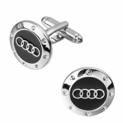 Silver Audi Cufflinks Business Wedding Gift Formal for Suit Shirt Sports Car GBP 12.49