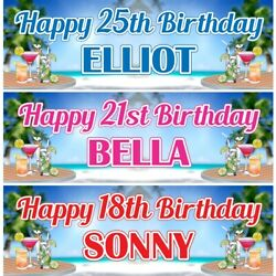2 Personalised Cocktail On Sea Birthday Party Celebration Banners Decor Poster GBP 12.99