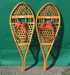 EXCELLENT #x27;Torpedo#x27; SNOWSHOES 41x14 Labels w LEATHER BINDINGS Snow Shoes Patina $99.49