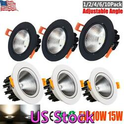 US 5W 10W 15W Recessed LED COB Ceiling Lamp Downlight Spotlight Home Light Decor