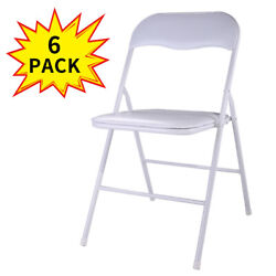 6 PCS Commercial White Plastic Folding Chair Wedding Party Banquet Chairs Event
