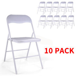 10PCS Commercial White Plastic Folding Stackable Wedding Party Chair White