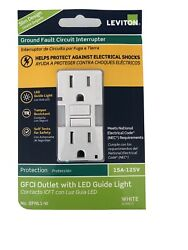 NEW Leviton GFCI Outlet WHite LED Guide Light 15A 125V GFNL1 W