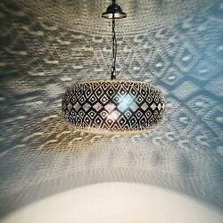 Moroccan Pendant Light Hanging Lamp Lampshades Lighting Brass Silver Plated $145.00