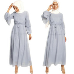 Muslim Kaftan Women Chiffon Long Sleeve Maxi Dress Evening Party Abaya Belt Robe C $45.92