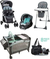 Baby Stroller Travel System Set High Chair Deluxe Playard 8 Pieces Diaper Bag $159.99