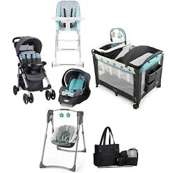 Baby Stroller with Car Seat amp; Car Base Combo Playard Swing Chair Bag Infant Set $349.99