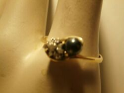 Diamond And Onyx ? Crossover Magic Glo Ring 10kt Yellow Gold Large size 11.25 $99.99