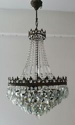 French Basket Style Vintage Brass amp; Crystals Chandelier Antique Lamp quot;208 3quot; $495.00