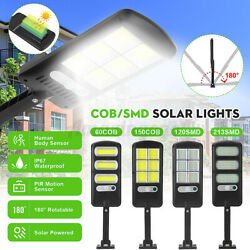 Solar LED Street Light Commercial Outdoor Security Road Motion Sensor W Pole @