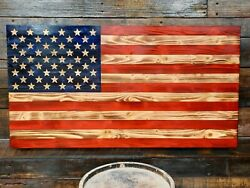 37quot; X 19quot; Handmade Carved Stars Wooden American Flag Made in Tennessee Rustic $110.99