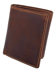 RFID Blocking Brown Vintage Leather Men#x27;s Trifold Center Flap Wallet $19.12