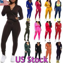 US 2PCS Women Sportswear Tracksuit Zipper Hoodies Jacket Tops Pants Set Casual $32.99