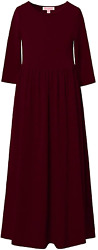 Qpancy Maxi Dresses For Girls 3 4 Sleeve Long Dress Church Party With Pockets $25.99
